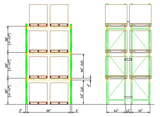 AutoCAD drawing of pallet rack with dimensions