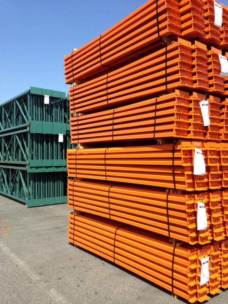 Orange pallet rack beams