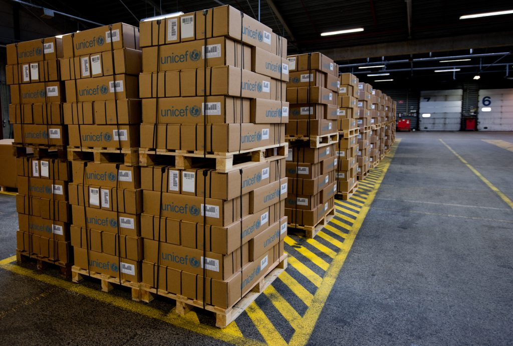 Assembled palletized orders - Pallet stacked neatly ready for shipping