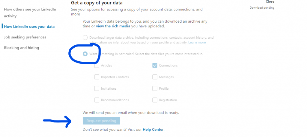 Download LinkedIn contacts - get a copy of your data