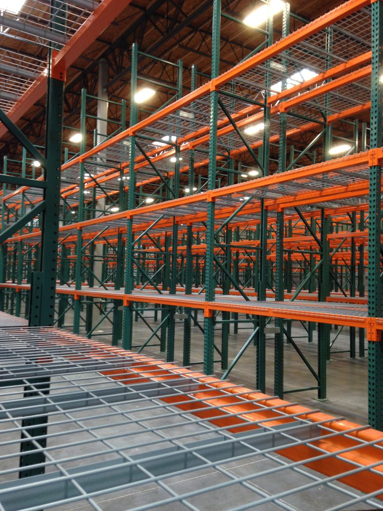 Newly installed pallet racking
