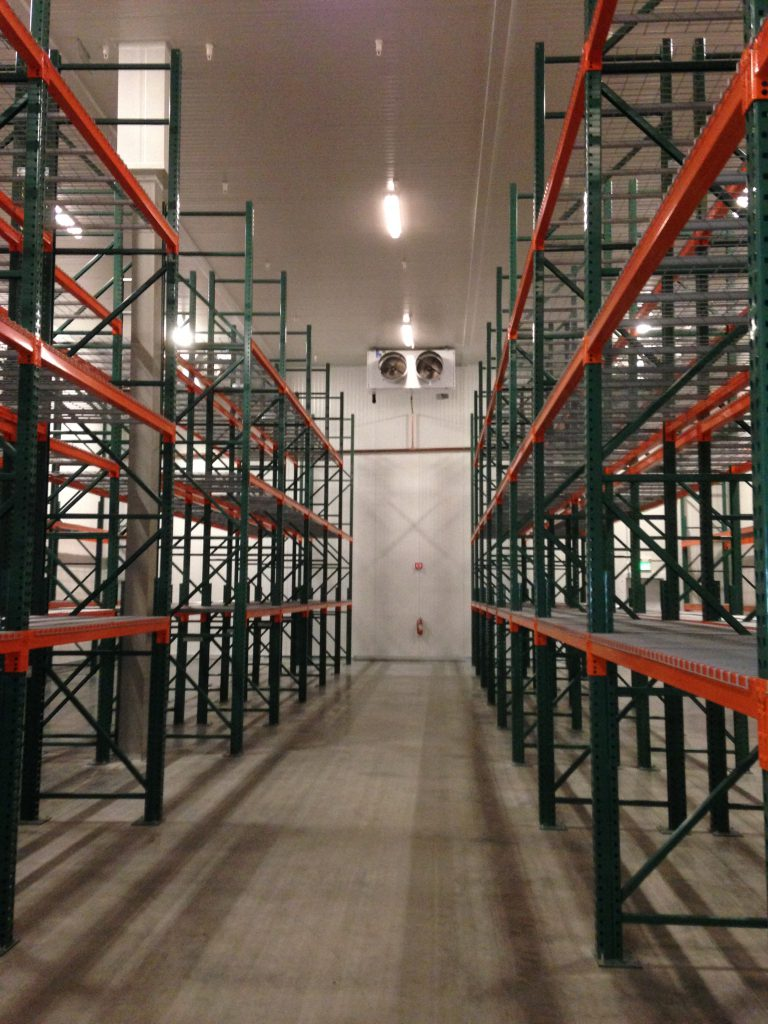 Pallet rack installed in a warehouse