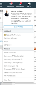 Image of a LinkedIn profile menu