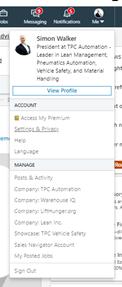 Image of a LinkedIn profile menu