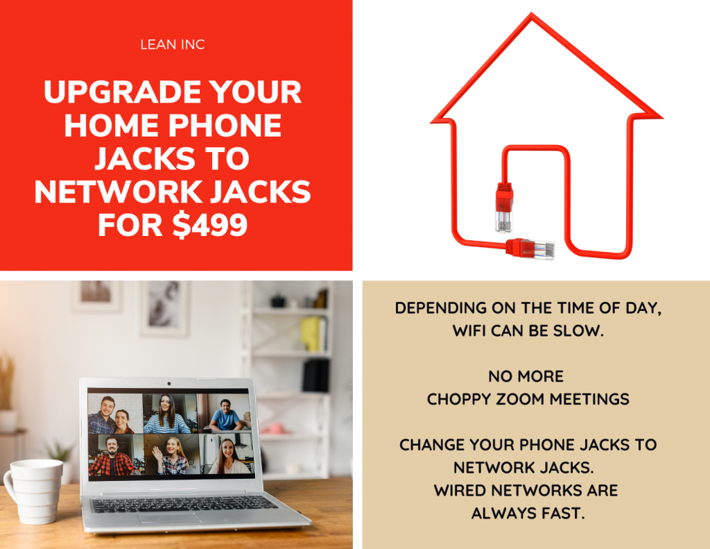 how to change the phone jacks to network plugs