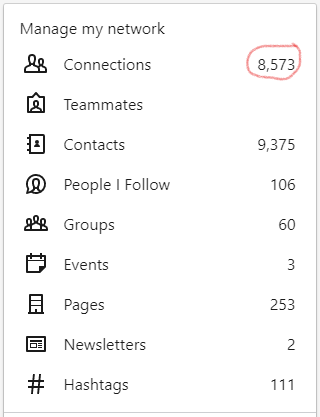 MANAGE MY NETWORK - LINKEDIN NAVIGATION - 8,593 CONNECTIONS CIRCLED