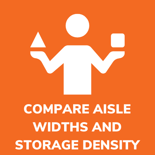 COMPARE AISLE WIDTH AND WAREHOUSE STORAGE DENSITY CALCULATOR