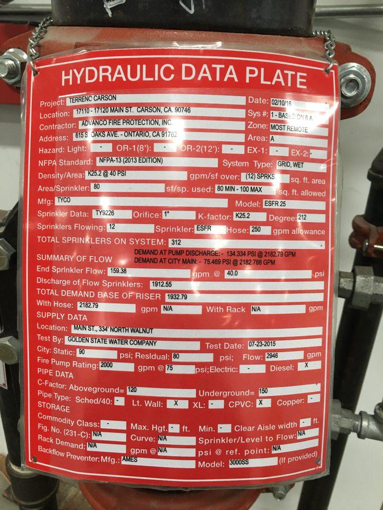 hydraulic data plate - aka riser tag - shows ESFR sprinklers