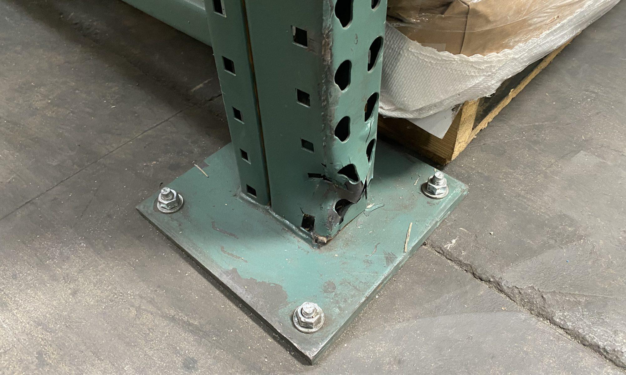 Damaged racking prior to pallet rack repair service