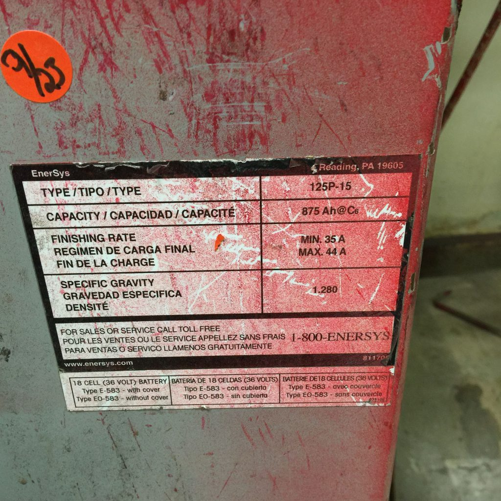 THE AMPERE HOUR RATING OF A FORKLIFT BATTERY